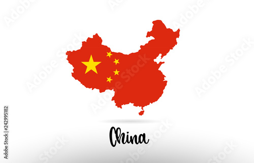 Fotomural  China country flag inside map contour design icon logo