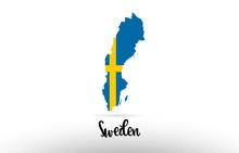 Sweden Country Flag Inside Map...