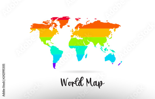 World Map Country Flag Inside Map Contour Design Icon Logo Buy