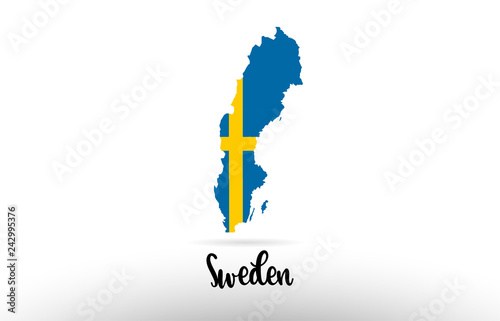 Cuadros en Lienzo Sweden country flag inside map contour design icon logo
