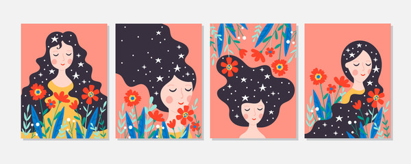Women's day cute greeting card set with young woman and flowers.
