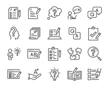 Set Of Question Icons, Such As, Question Mark, Talk, Answer, Test, Learning