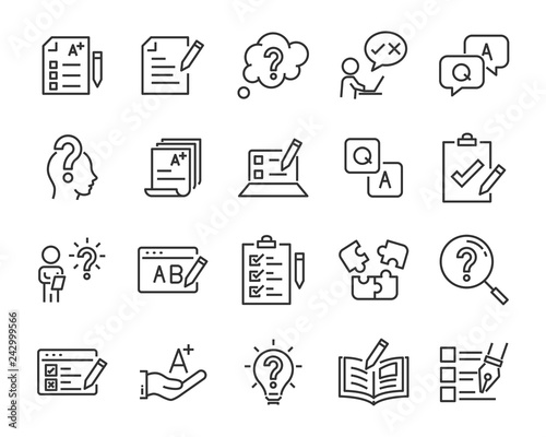 Leinwand Poster set of question icons, such as, question mark, talk, answer, test, learning