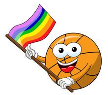 Basketball Ball Cartoon Funny Character Multicolor Rainbow Peace Flag Isolated