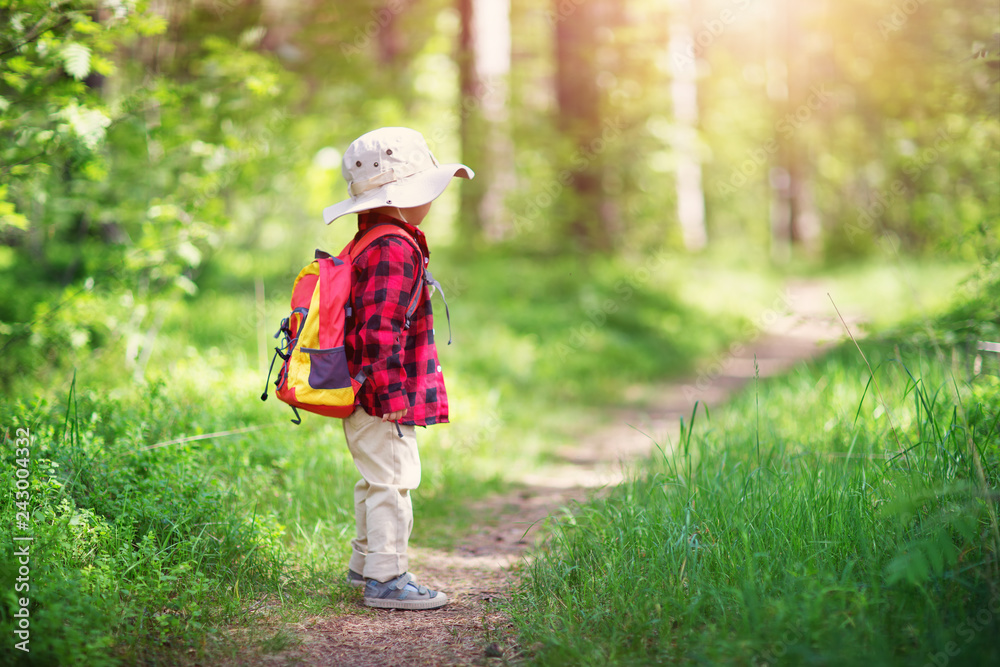 Fototapety, obrazy: boy going camping with backpack in nature