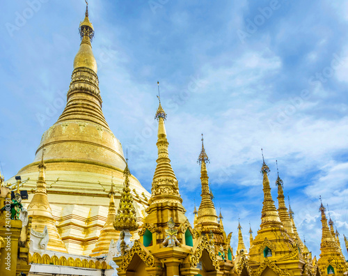 Shwedagon Paya pagoda Myanmer famous sacred place and tourist attraction landmark.Yangon