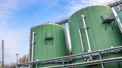 Biogas plant for power generation and energy Canvas Print