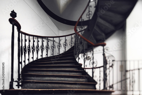 Photo Stands Stairs Antique vintage rounded staircase in old house, Strasbourg, France