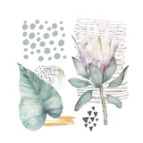 Hand drawn illustration with watercolor, marble elements and protea. Scandinavian design. Abstract geometric poster - 243008782