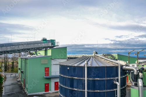 Aerial view of biogas power plant Wallpaper Mural