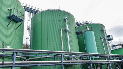Biogas power station. Alternative energy sources. Wallpaper Mural