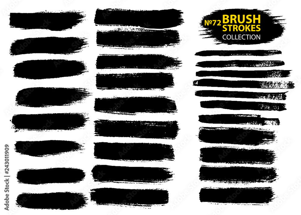 Fototapety, obrazy: Dirty artistic design elements isolated on white background. Black ink vector brush strokes