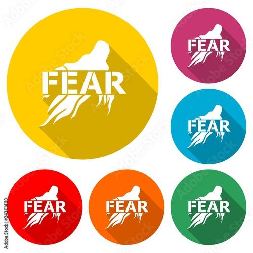 Fotografía  Fear icon, Fear icon or logo, color set with long shadow