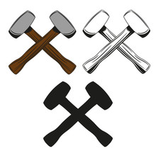 Set Of Crossed Hammer Icon In Monochrome, Color And Black Style. Vector Illustration.