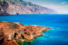 Large Landscape With Colorful Water And Land In Tenerife.