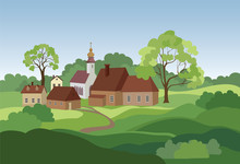 Rural Landscape With Hills, Fi...
