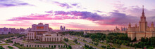 Vibrant Soft Wide Angle Panoramic View Of Sunset Evening Campus Of  Famous Russian University Under Dramatic Sky In Moscow