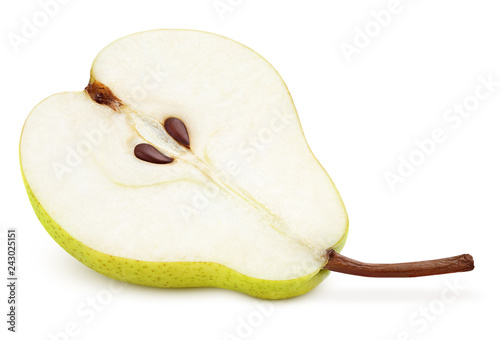Half of green yellow pear fruit isolated on white with clipping path. Full depth of field.