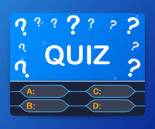 Quiz Game Vector Illustration. Test, Exam, Answer, Education, Learning, Internet, Lottery. Vector Illustration.