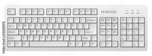 Fotografía  vector white pc keyboard, keyboard is very useful tool for personal computer, it