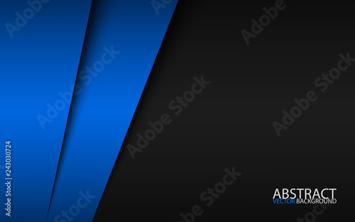 Fototapeta Black and blue modern material design, corporate template for your business, vector abstract widescreen background obraz na płótnie
