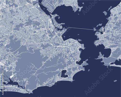 Fotografie, Obraz map of the city of Rio de Janeiro, Southeast, Brazil