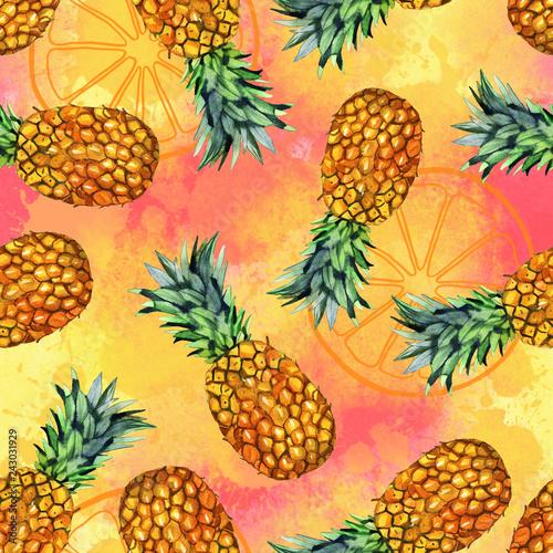 akwarela-owoc-recznie-malowany-ananas-ilustracja-wzor-na-kolor-tla