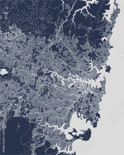 Fototapeta map of the city of Sydney, New South Wales, Australia