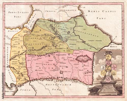 1720, Weigel Map of the Caucuses including Armenia, Georgia, and Azerbaijan Canvas-taulu
