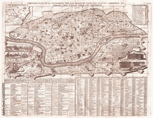 Fotomural Old Map of Rome, Italy, 1721, Chatelain Plan