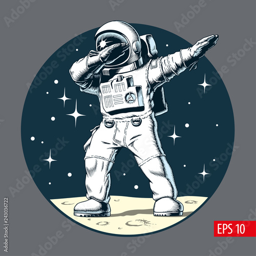 Obraz na płótnie Astronaut dabbing on the moon, comic style vector illustration.