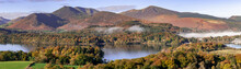 A Panorama Of Cloud Over Derwent Water Lake In The Lake District Cumbria With Autumn Colours And Mountains In The Background
