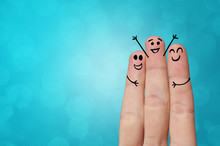 Joyful Fingers Smiling With Co...