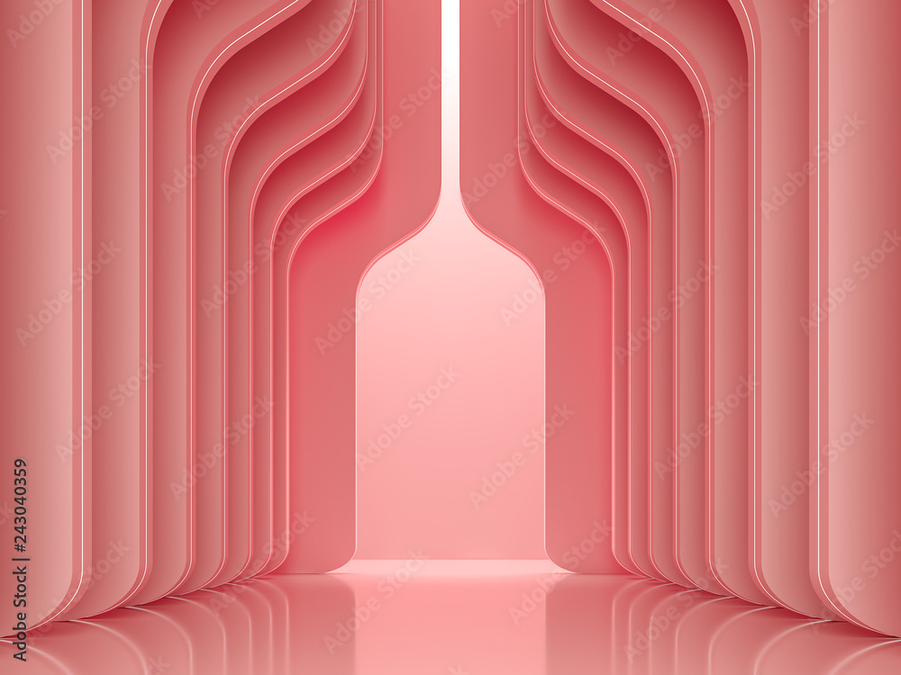 Fototapety, obrazy: Modern luxury space interior concept 3d render ,There are smooth shape wall pattern with coral pink decorate with led stripe light.