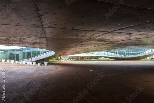 Cuadros en Lienzo Exterior ground floor of Rolex Learning Center (EPFL) in Lausanne, Switzerland with fascinate concrete undulating perforated floor and roof with glass facade