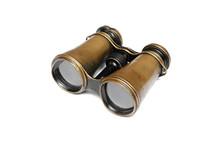 Vintage Binoculars Isolated On The White Background.
