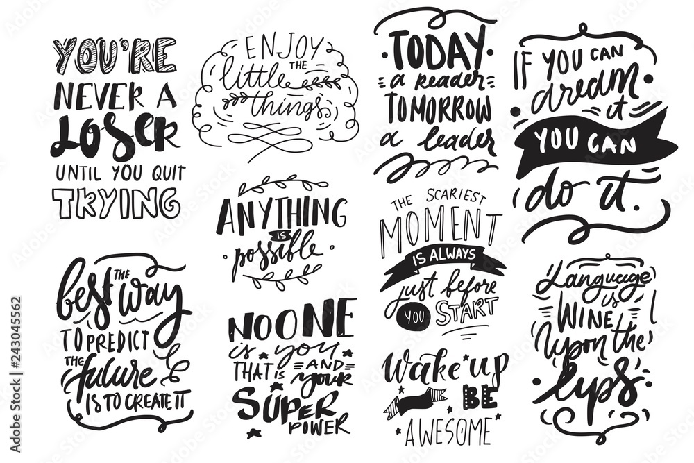 Fototapety, obrazy: Motivation quote. Hand lettering modern illustration for your design.