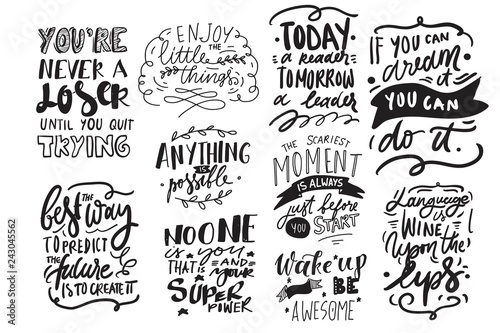 Deurstickers Positive Typography Motivation quote. Hand lettering modern illustration for your design.