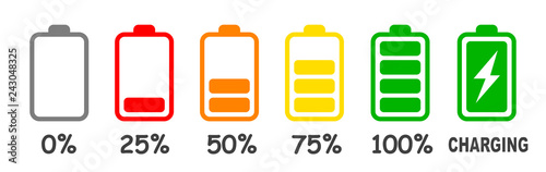 Foto Set of battery charge level indicator in percent - vector