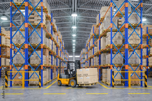Obraz Forklift truck in warehouse or storage and shelves with cardboard boxes. - fototapety do salonu