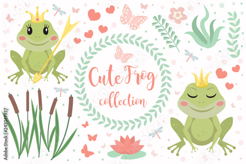Cute frog princess character set of objects Tableau sur Toile