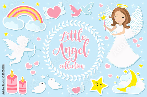Photo Little angel girl character set of objects