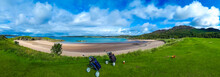 Golf Course With Carts And Clubs At The White Sand Beach Of Gairloch In Scotland
