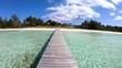 Jetty on tropical Caribbean luxury beach resort Bahamas