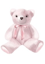 Valentines Day. Watercolor Style Illustration Of A Pink Stuffed Bear On The Flat White Background