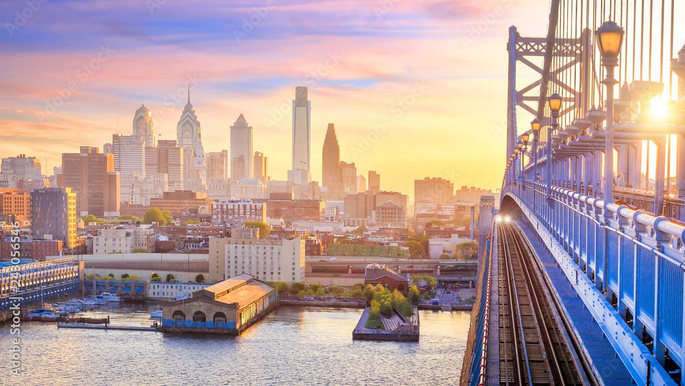Fototapety, obrazy: Philadelphia skyline at sunset