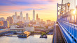 canvas print picture Philadelphia skyline at sunset