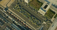 Aerial View At Sunrise Melbourne Airport Taxi Rank