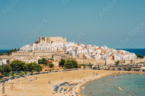 Peniscola castle, top view. Costa del Azahar, province of Castellon, Valencian Community