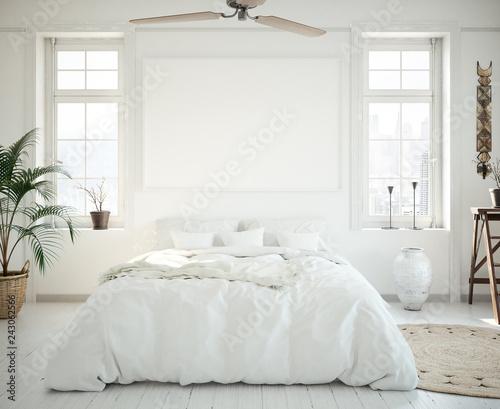 Foto  Mock-up poster frame in bedroom, Scandinavian style, 3d render